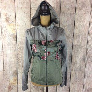 Empyre Grey Green Floral Camo Hooded Jacket Sz M
